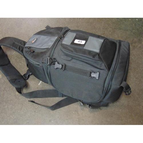 45 - Lowepro camera bag with Pentax 100-300 lens, etc....