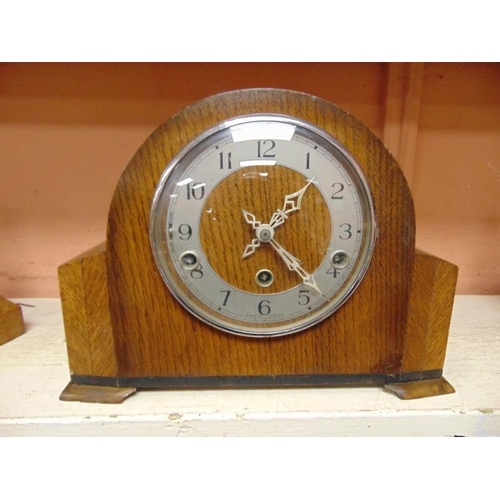 50 - Enfield oak cased dome top mantle clock....