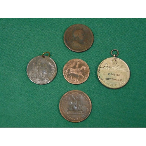 8 - Five various coins/medallions....