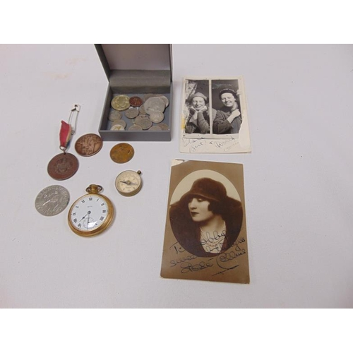 20 - Various coins / medallions, two signed music hall postcards etc.