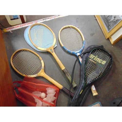 25 - Vintage tennis rackets etc.