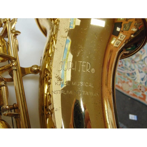 26 - Jupiter Tenor Saxophone, with accessories, hard case, and stand.