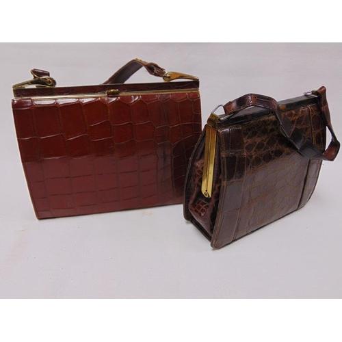 34 - Two vintage crocodile skin handbags.