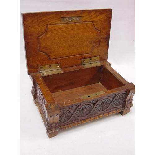 43 - Antique carved walnut trinket box.