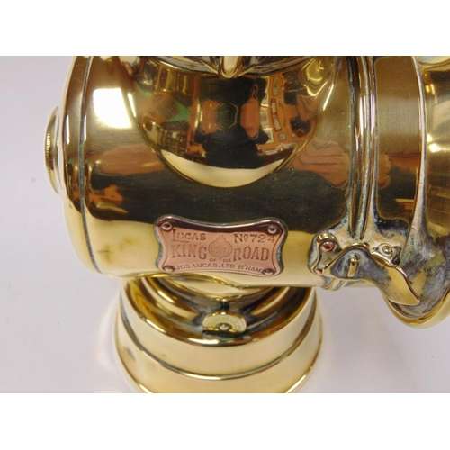 50 - Lucas brass 'King of the Road' headlamp, no, 274, 12in. high.