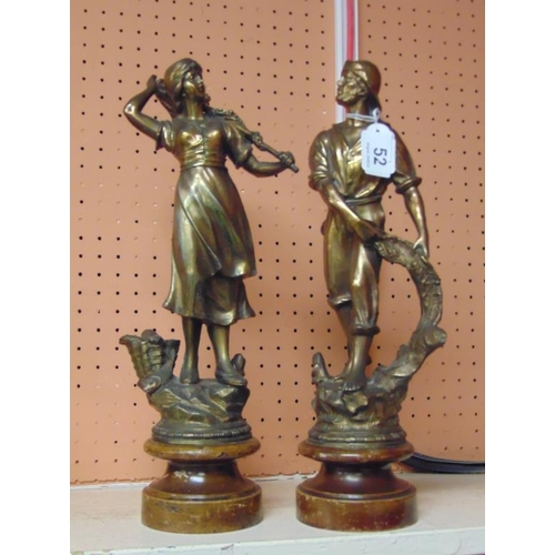 52 - Pair of French gilded spelter figures, 16in. high.