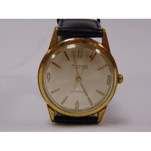 8 - Ingersoll 17 Jewel Lever Shockproof gents wristwatch, gold plated case.