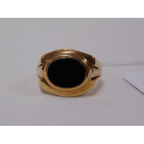 4 - 9ct gold and onyx signet ring, size x/y, 18.4g.