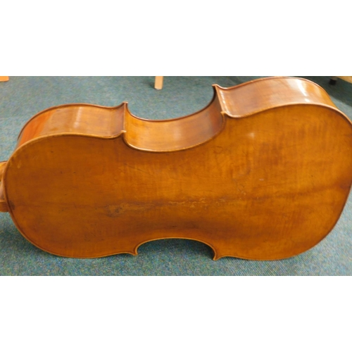 29 - A cello, with ebonised finger board, the two piece back stamped Goulding and Co London, length of ba...