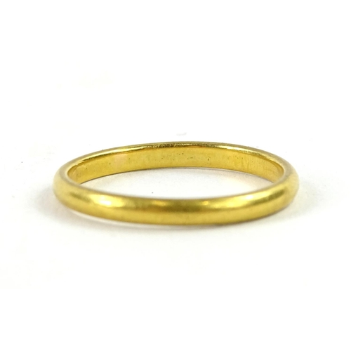 48 - A thin 22ct gold wedding band, with makers mark W.W.LD, 3g....