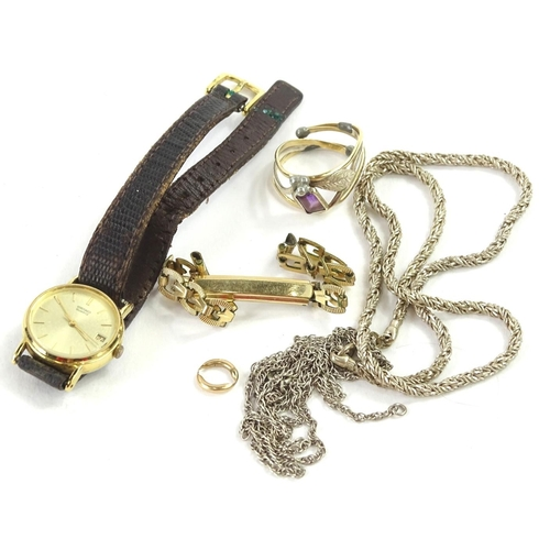 57 - Various jewellery, to include two silver chains, a silver and yellow metal dress ring, a gold plated...