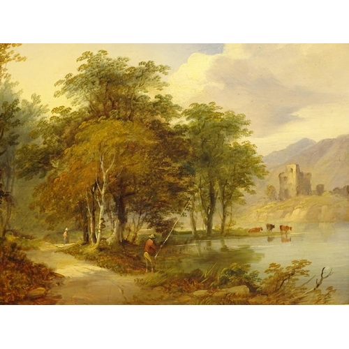 11 - Thomas Creswick (1811-1869). Anglers in a river landscape, oil on board - pair, signed, 21.5cm x 26....