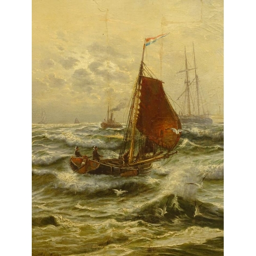 13 - Edwin Henry Eugene Fletcher (1857-1945). Fishing boat, masted ships and steamer off the coast, oil o...