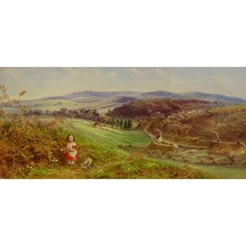 30 - Ellen Cantelo (fl 1859). Young child picking flowers in country landscape, oil on tin panel, signed,...