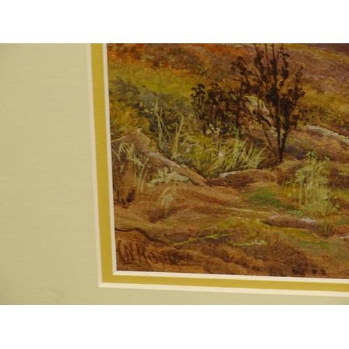 34 - C.N. Rounds (19thC). Evening Dartmoor, watercolour, signed, 24cm x 34cm.. Stamp verso J.D. Wheeldon ...