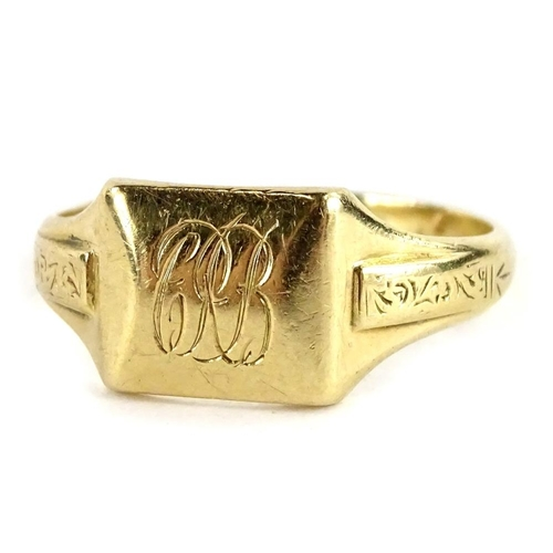 59 - A 9ct gold gent's signet ring, with raised rectangular design ring head, bearing the initials CAB, w...