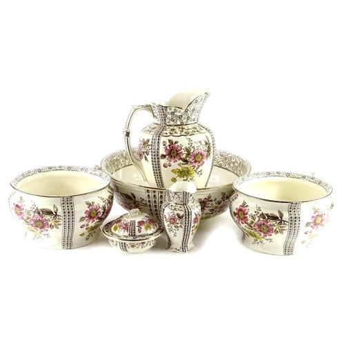 9 - A Victorian Keeling & Co London pattern wash stand set, comprising jug, bowl, two chamber pots, soap...