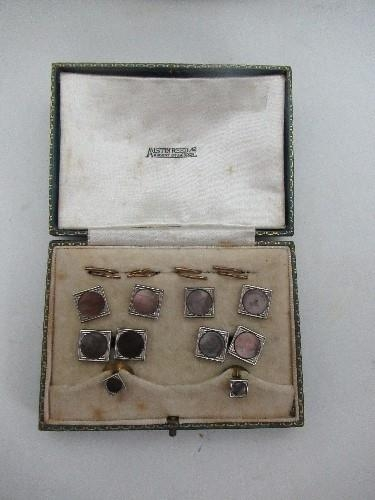 An Austin Reed Encased Stud Set With Rectangular Studs Inset With Mother Of Pearl Panels