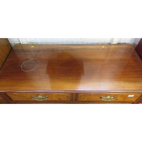 12 - A mahogany chest, of two short over two long drawers with walnut veneered drawer fronts, width 45ins...