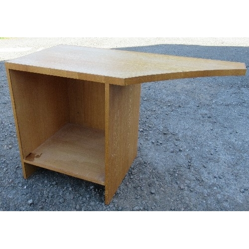 19 - A modern desk, with inset leatherette writing surface, 84.5ins x 27ins x height 30ins, together with...