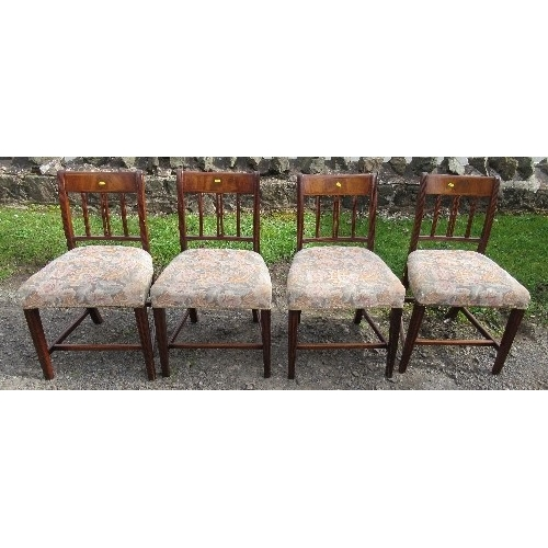 22B - A set of four 19th century mahogany dining chairs, with stuff over seats