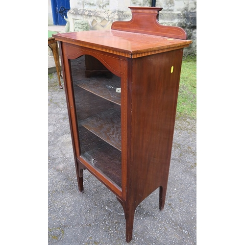 23 - An Edwardian mahogany display cabinet, with glass door, width 20ins, height 43.5ins, depth 13.5ins
