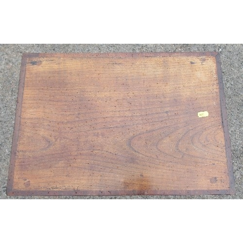 27 - An antique side table, with elm top and mahogany banding, fitted with a frieze drawer, 20ins x 13.5i...