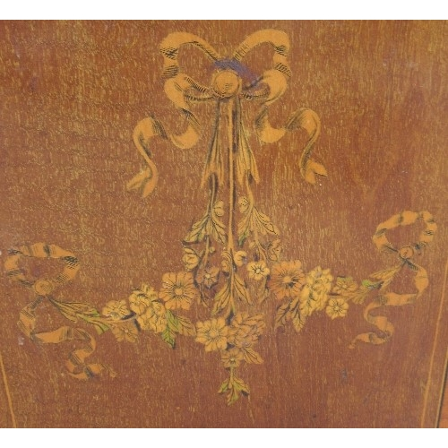 33 - An Edwardian mahogany pedonium, decorated with flowers, 134ins x 13ins x height 18ins