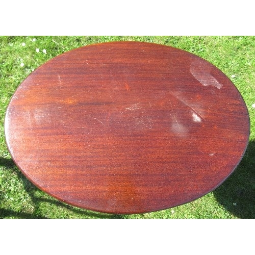 44 - A 19th century mahogany oval tripod table, diameter 25.5ins x height 28ins
