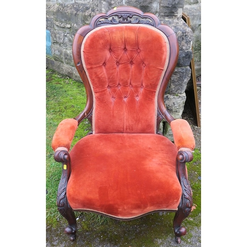 45 - A Victorian mahogany show wood grandfather's chair, raised on short cabriole legs