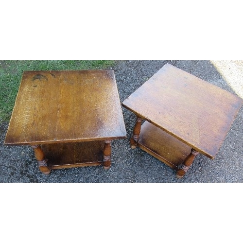 47 - A pair of oak coffee tables with under shelf, 23ins x 23ins x height 18ins