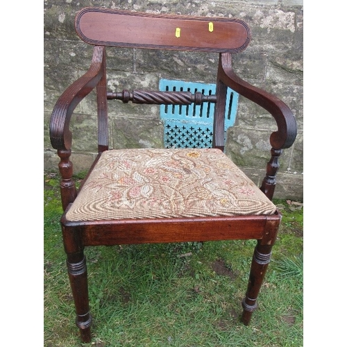 52A - A 19th century mahogany Regency style open arm dining chair