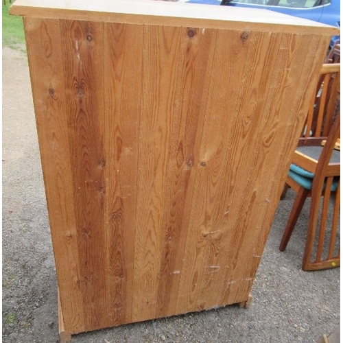 54 - A pine chest, of two shortdrawers over four long drawers, raised on a plinth base, height 45.5ins x...