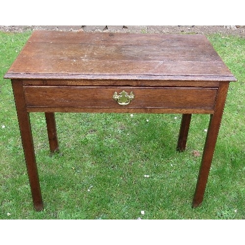 55 - An antique oak side table, fitted with a frieze drawer, 33ins x 18.5ins x height 28.5ins
