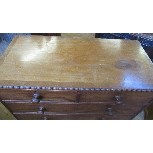 6 - A 19th century mahogany chest, of two short over three long drawers, with moulded decoration to the ...