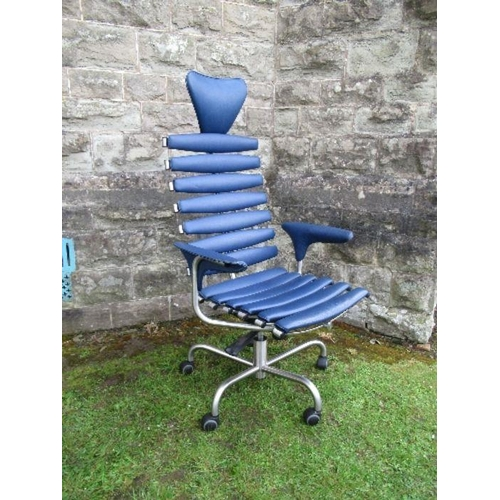 11 - Blue leather skeleton chair by De Sede