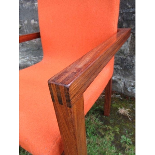 13 - Padouk high back armchair with orange upholstery attributed to John Makepeace