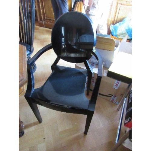 17 - Pair of black Kartell Louis Ghost armchairs