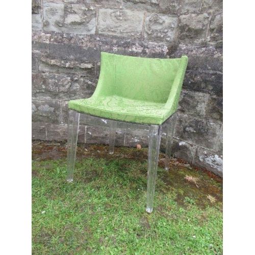 23 - A pair of Perspex and green upholstered chairs