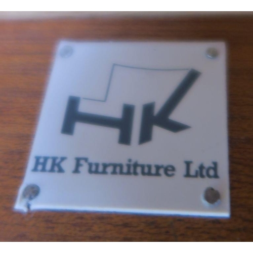 26 - An HK Furniture ltd, large burr wood desk, fitted with a drawer,  width 64ins x depth 33.5ins x heig...