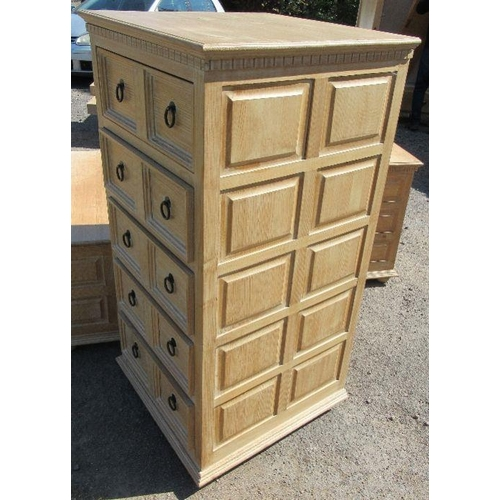 31 - Bedroom suite to include dressing table, bed, four low chests of three drawers, coffer, chest of fiv...