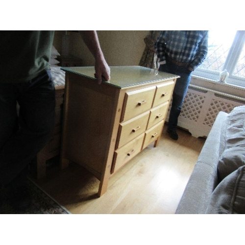 32 - Bedroom suite comprising bed, pair of bedside cabinets, dressing table, wardrobe and chest of drawer...