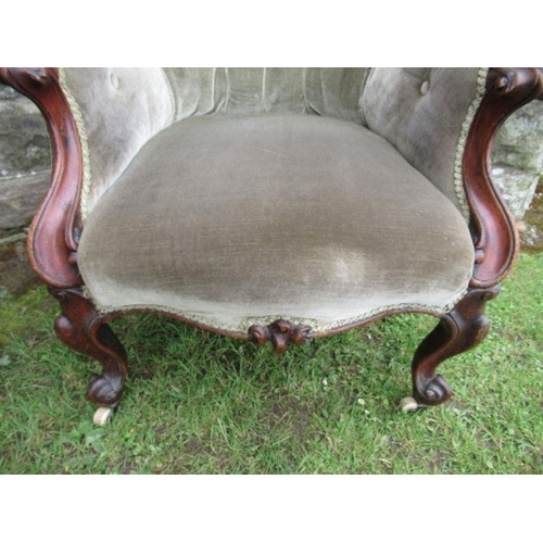 43 - A Victorian chair, in green upholstery