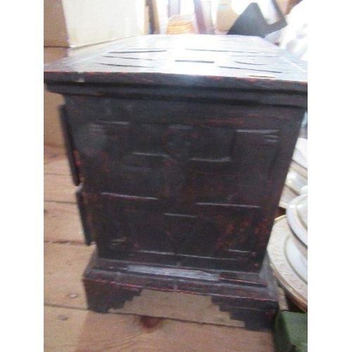 46 - An Eastern low cabinet, with carved decoration, fitted with three drawers, 22ins x 12.5ins, height 1...