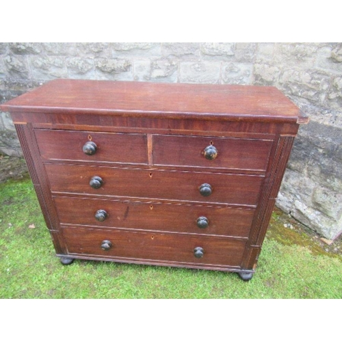 49 - A 19th century mahogany chest, having two short and three graduated long drawers, flanked by reeded ...
