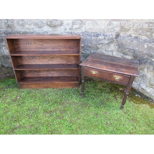 53 - A set of three open oak bookshelves, width 42.5ins, together with an oak side table, fitted with a f...