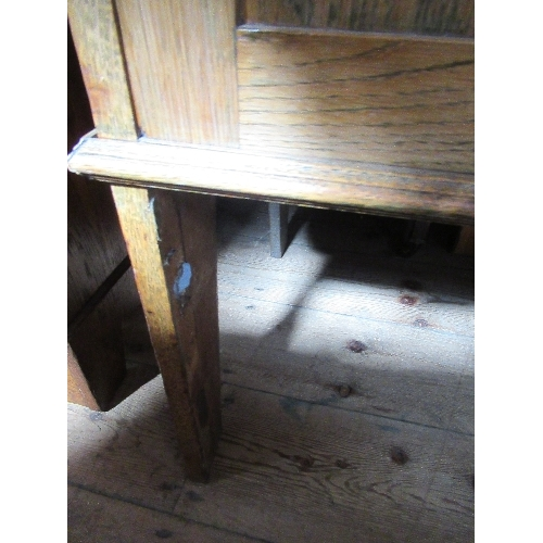44 - An Arts and Crafts style tile backed wash stand, with cupboard door below, width 41.5ins x height 53...