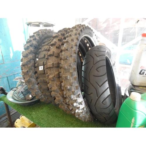 38 - Assorted motorbike tyres...