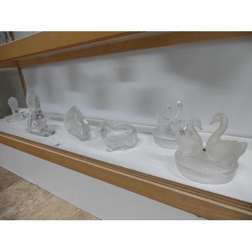 56 - Shelf of crystal animals etc...