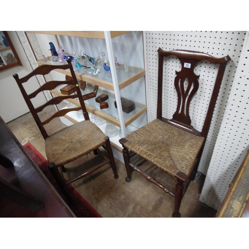 59 - 2 Rush seat chairs...